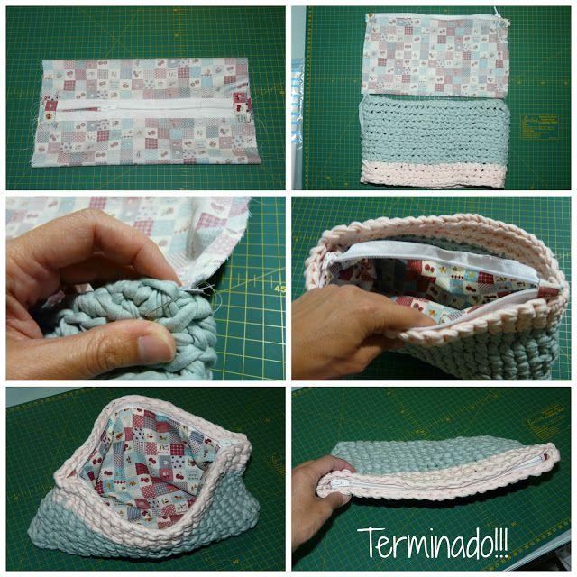 Diy By Paula Un Bolso De Trapillo Con Forro Y Cremallera Padrões De Bolsas De Crochê Carteira De Crochê Caixa De Crochê