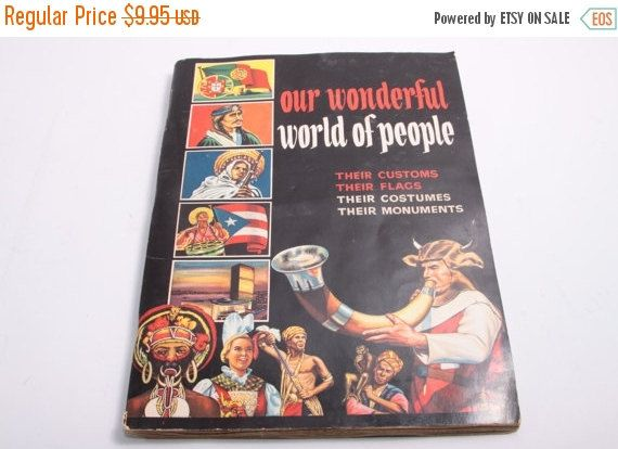 Our Wonderful World of People Vintage Pannini Sticker Album - Complete - Cultures of the World - Some Water Wrinkling by ThePinkRoom