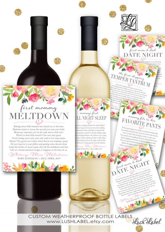Baby Shower New Mom Gift Milestones For Mommy Wine Champagne Labels Mommy Meltdown Date Ni Diy Baby Shower Gifts Baby Shower Planning Birthday Surprise For Mom