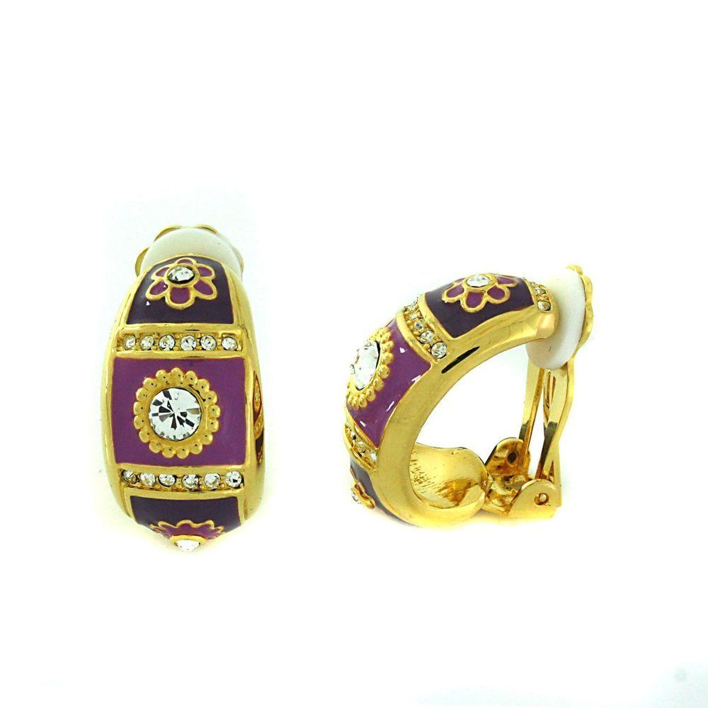Qvc No Reserve Joan Rivers Goldtone Purple Enamel Clip On Earrings B835 Joanrivers Hoop