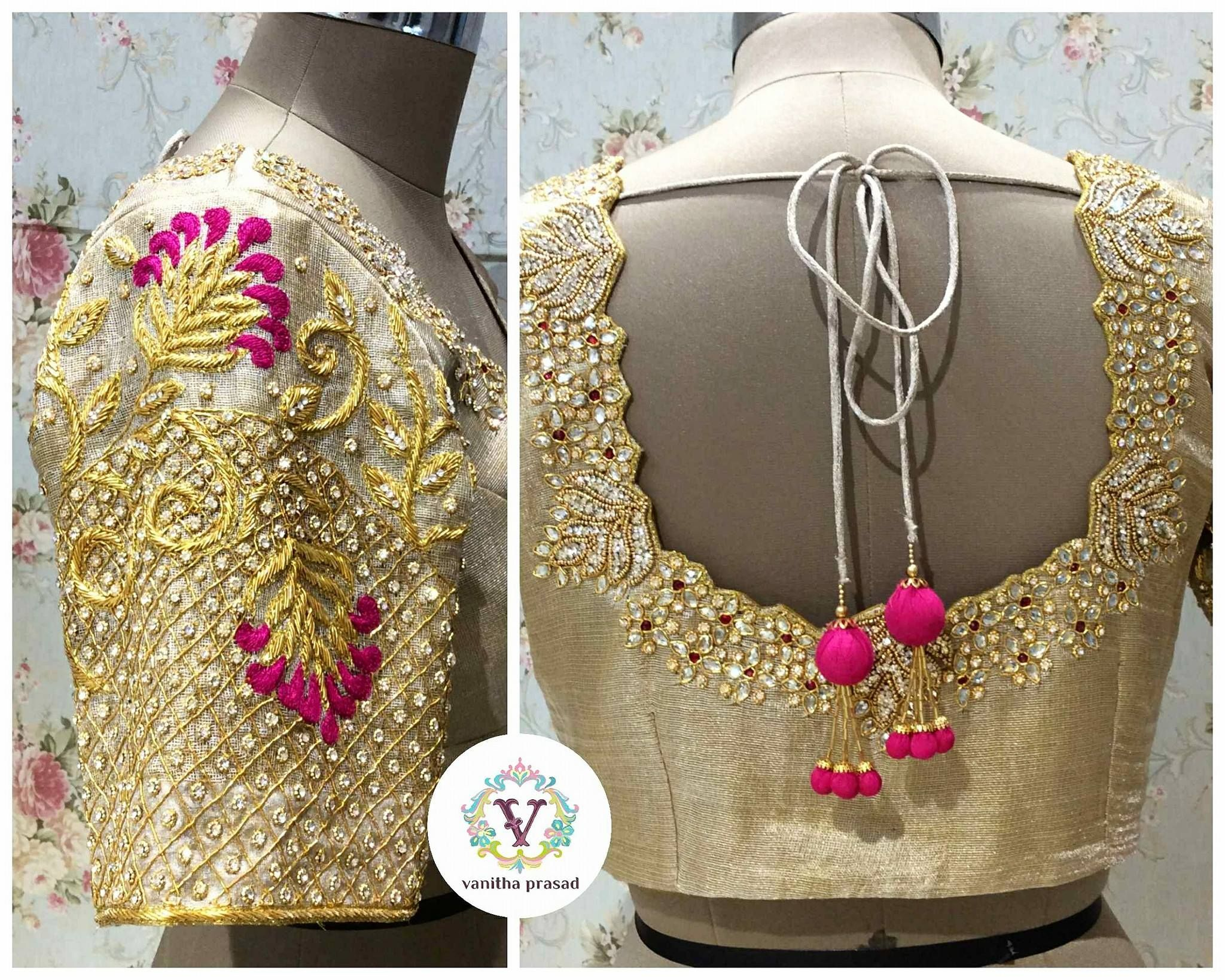 f94e85b60d Beautiful gold color designer blouse with hand embroidery kundan work from  Vanitha. 24 June 2017
