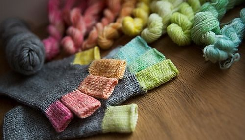 These mitts have been designed to use hand dyed yarn. They use ...