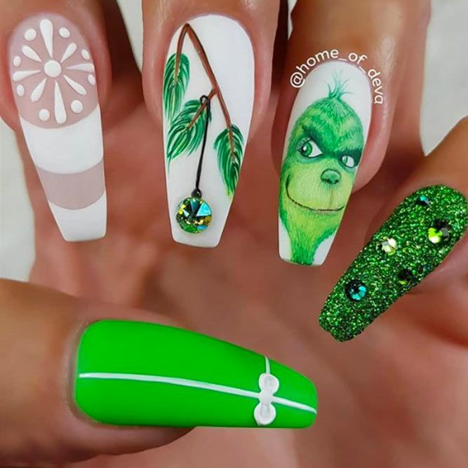 Bright Neon Christmas Nails With Grinch Art ❤ 50+ Popular Ideas of Christmas Nails Designs To Try in 2019 ❤ See more ideas on our blog!! #naildesignsjournal #nails #nailart #naildesigns #christmasnails #winternails