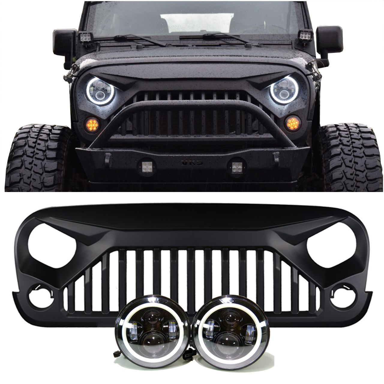 Jeep Jk Projector Headlights Halo Vader Grille Combo Pack Leds4less Jeep Wrangler Accessories Jeep Wrangler Jeep Wrangler Grill