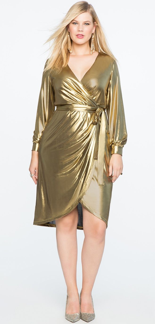 Plus Size Gold Dress #plussize #party #dress #holiday #cocktaildress ...
