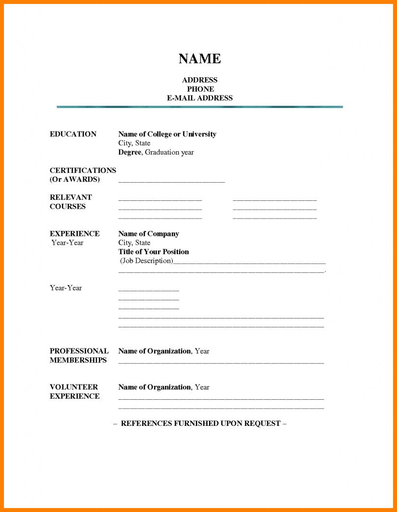 Resume Template Fill In Free Colona Rsd7 With Regard To Blank Resume Templates For Microsoft Word Best Sam Resume Form Resume Templates Job Resume Template