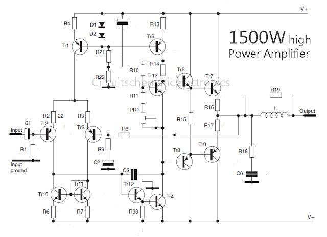 circuit of 1500 watt high power amplifier is very nice to talk Series Circuit Diagrams circuit diagram nice