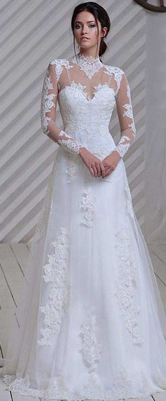 Elegant tulle illusion high neckline aline wedding dress with lace
