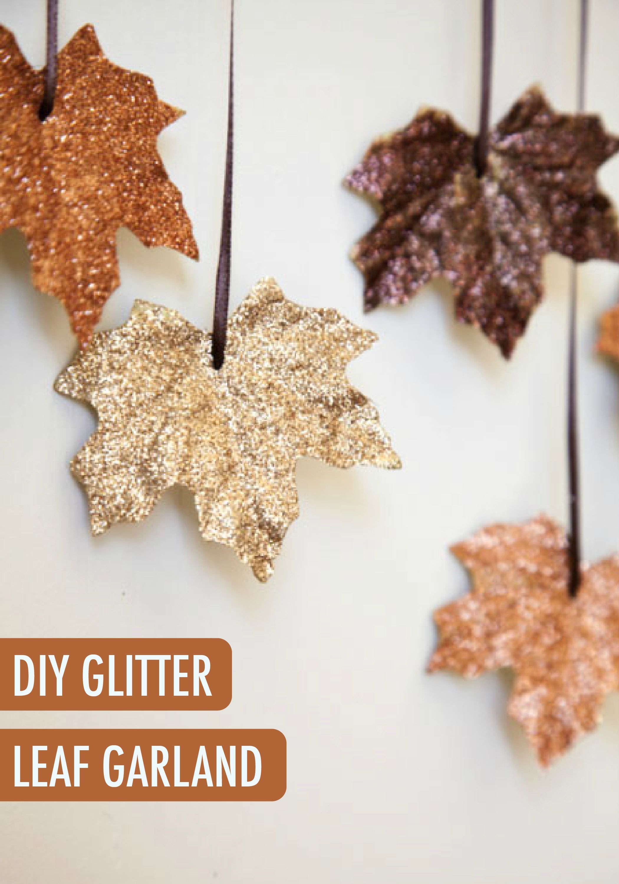 try this diy glitter leaf garland project this weekend with your holidays