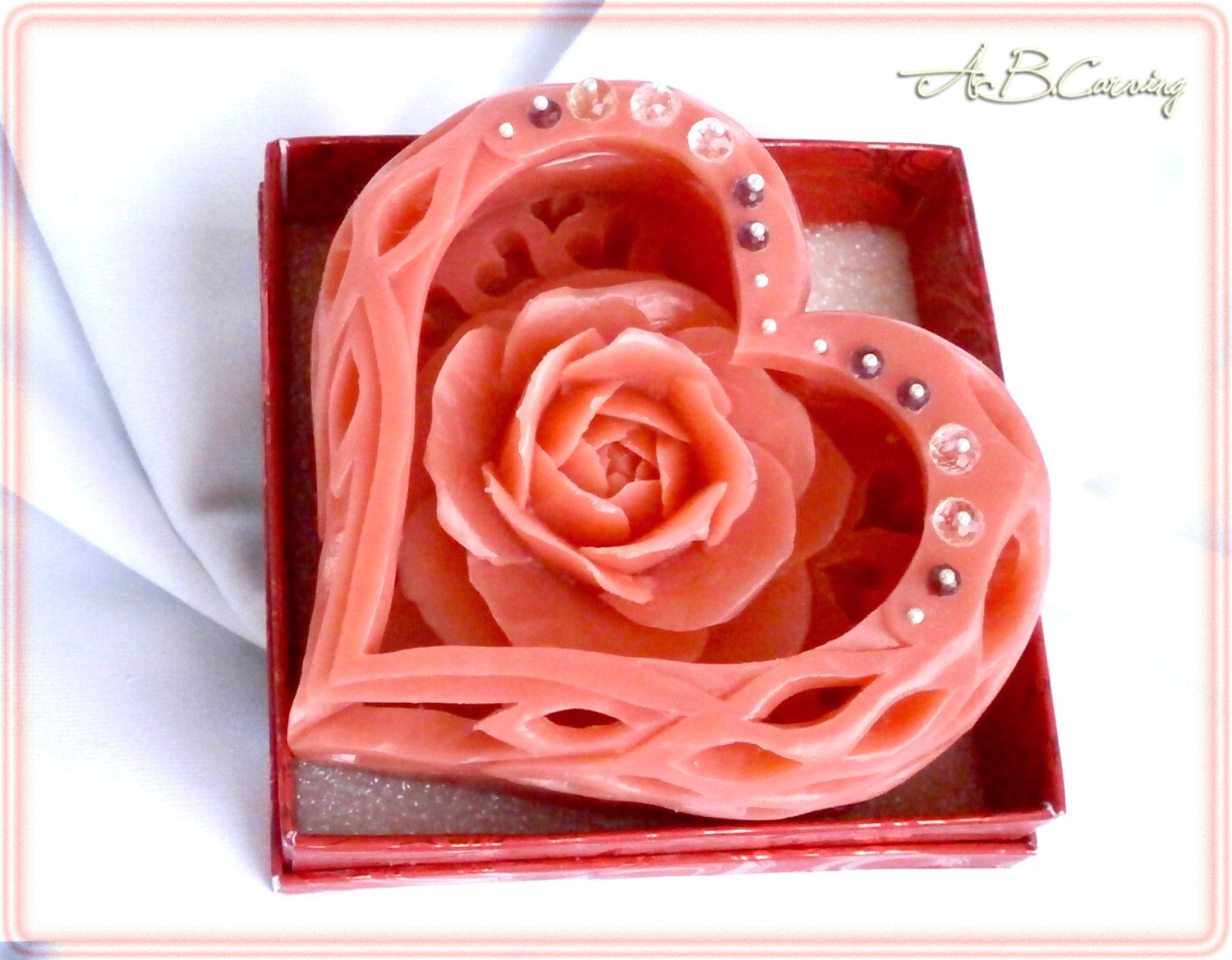 Wedding heart soap heart shape carved soap hand carved soap valentines day gift heart shape carved soap hand carved soap carving rose soap negle Gallery