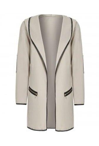 Mantel Damen Wolle Viskose Kapuze Beige Schwarz Cardigan Jacke