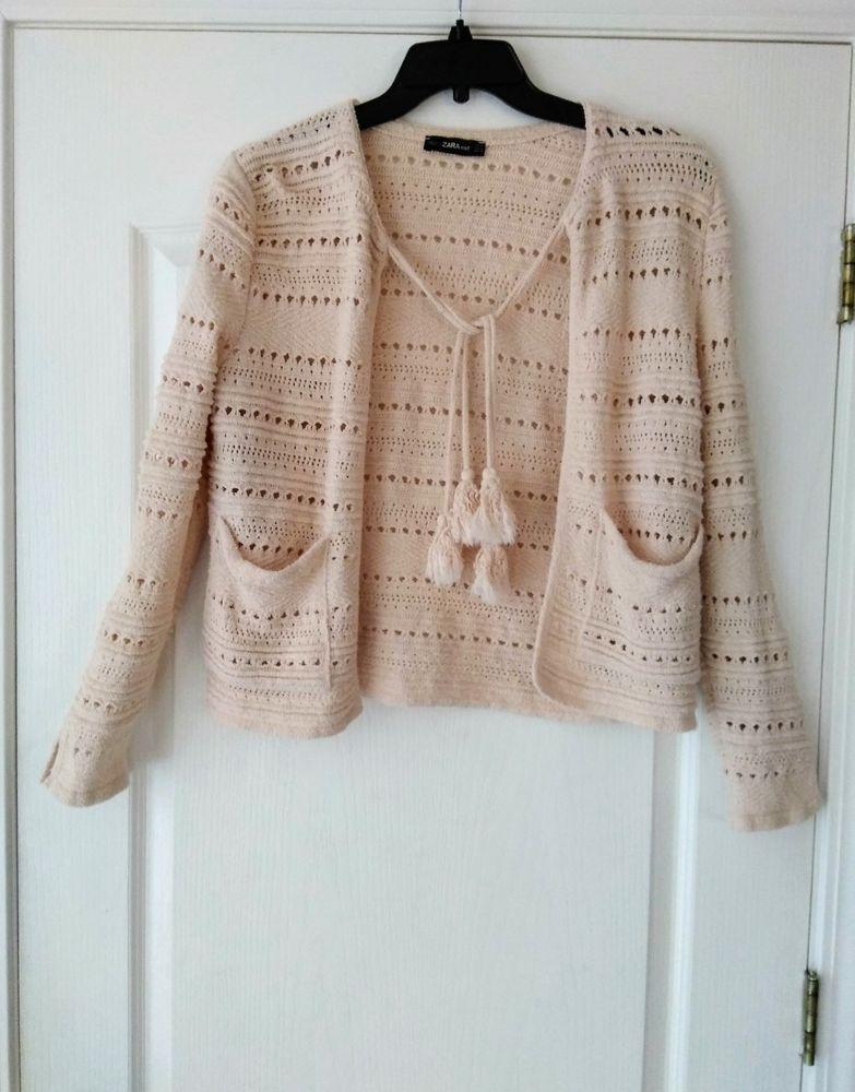 f0296d6d Women's Lagenlook Zara Knit Cream Open Knit Cardigan Sweater Medium Tassels  #Zara #CardiganSweater