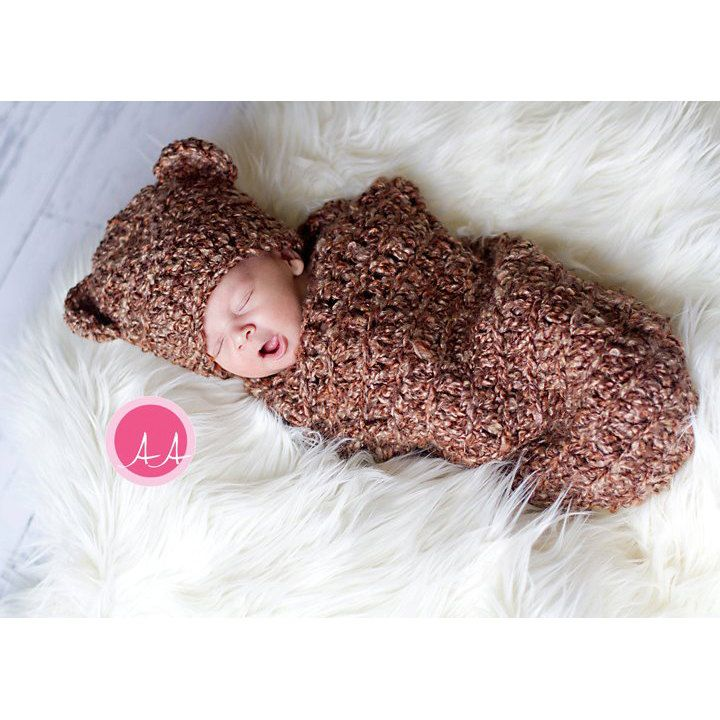 Download PDF crochet pattern s010 - Newborn Baby-bear Hat and Cocoon
