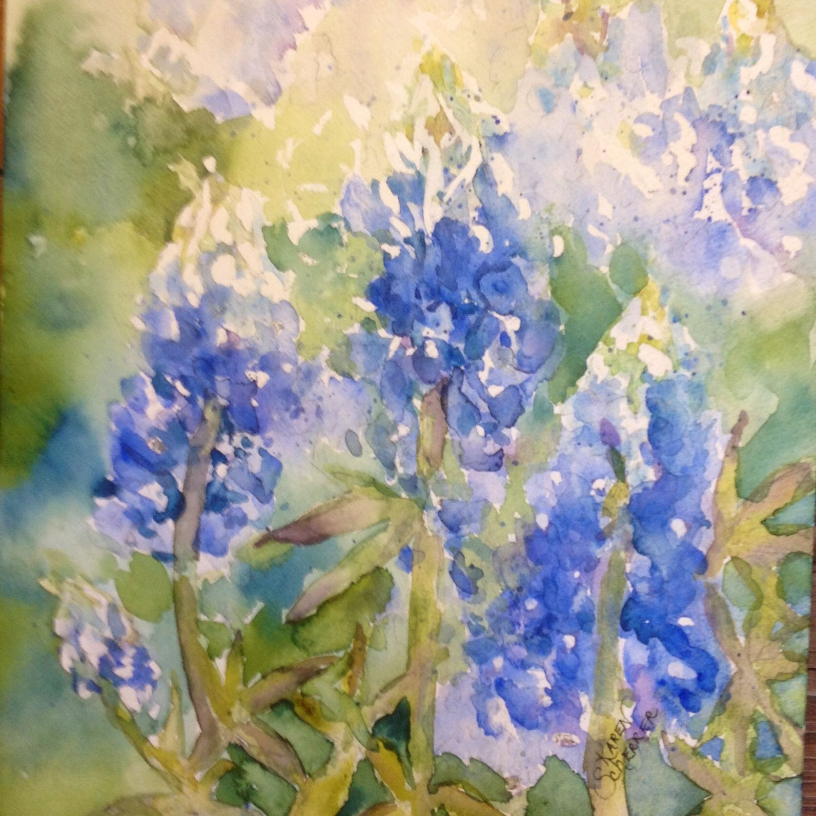 Watercolor artists in texas - Bounty Of Bluebonnets By Texas Watercolor Artist Karen Scherrer
