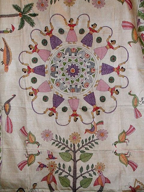 Traditional Kantha Birds Embroidery Stitches Kantha