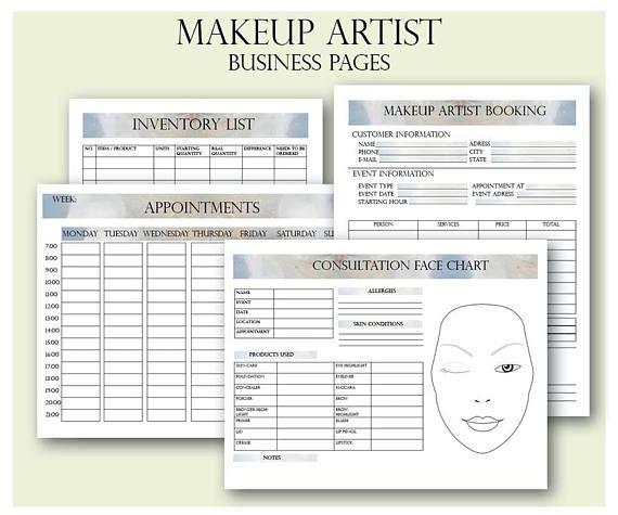 Makeup Artist Business Planner Bundle Freelance Makeup Artist Forms Makeup Artist Booking Form Wed Makeup Artist Business Face Chart Freelance Makeup Artist