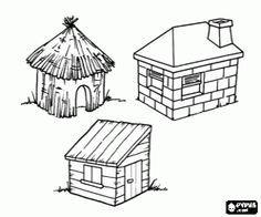 Coloriage Ce Sont Les Trois Maisons Des Trois Petits Cochons