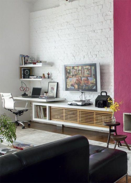 Le Salon En Brique Rouge Stylise En 35 Exemples Brick Wall Living Room Antique Living Rooms Contemporary Living Room