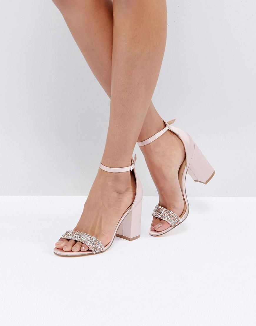 992110fad89  ASOS -  New Look New Look Satin Block Heel Sandal With Crystal  Embellishment - Pink - AdoreWe.com