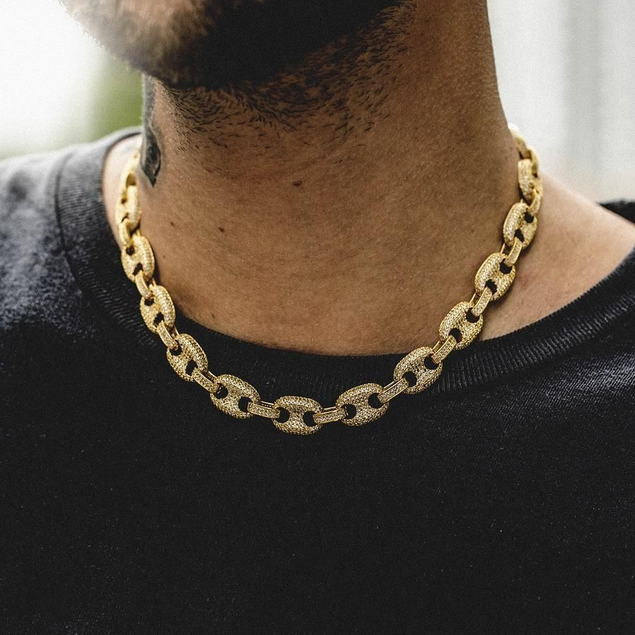 80fc97743d636 Iced Gucci Link Necklace in Yellow Gold in 2019 | Street ...