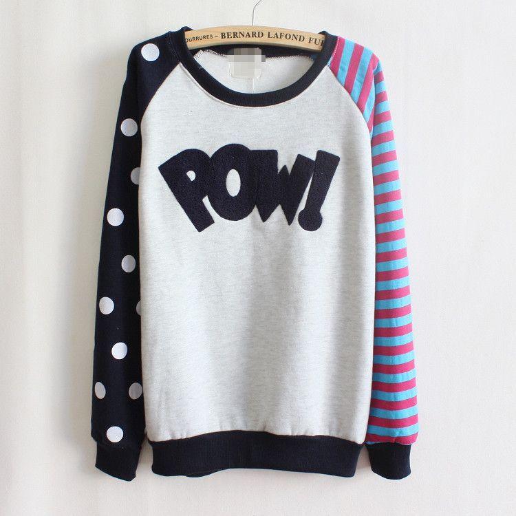 Pow ! flocking letters fleece inside sweatshirts big dot and ...