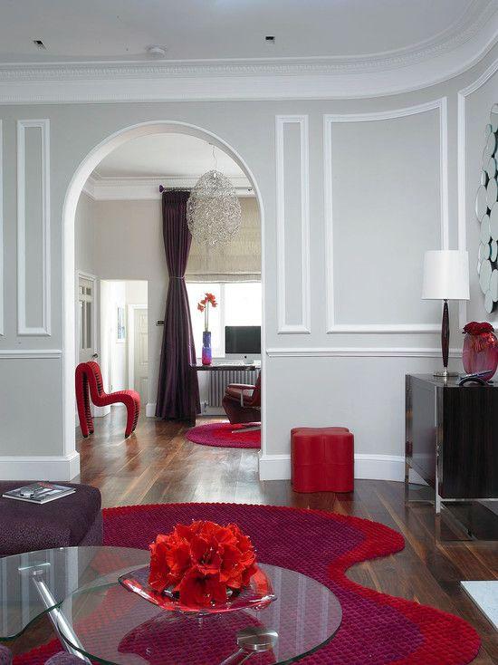 80 Ideas For Contemporary Living Room Designs  Living Rooms Room Classy Gray And Red Living Room Interior Design Decorating Design