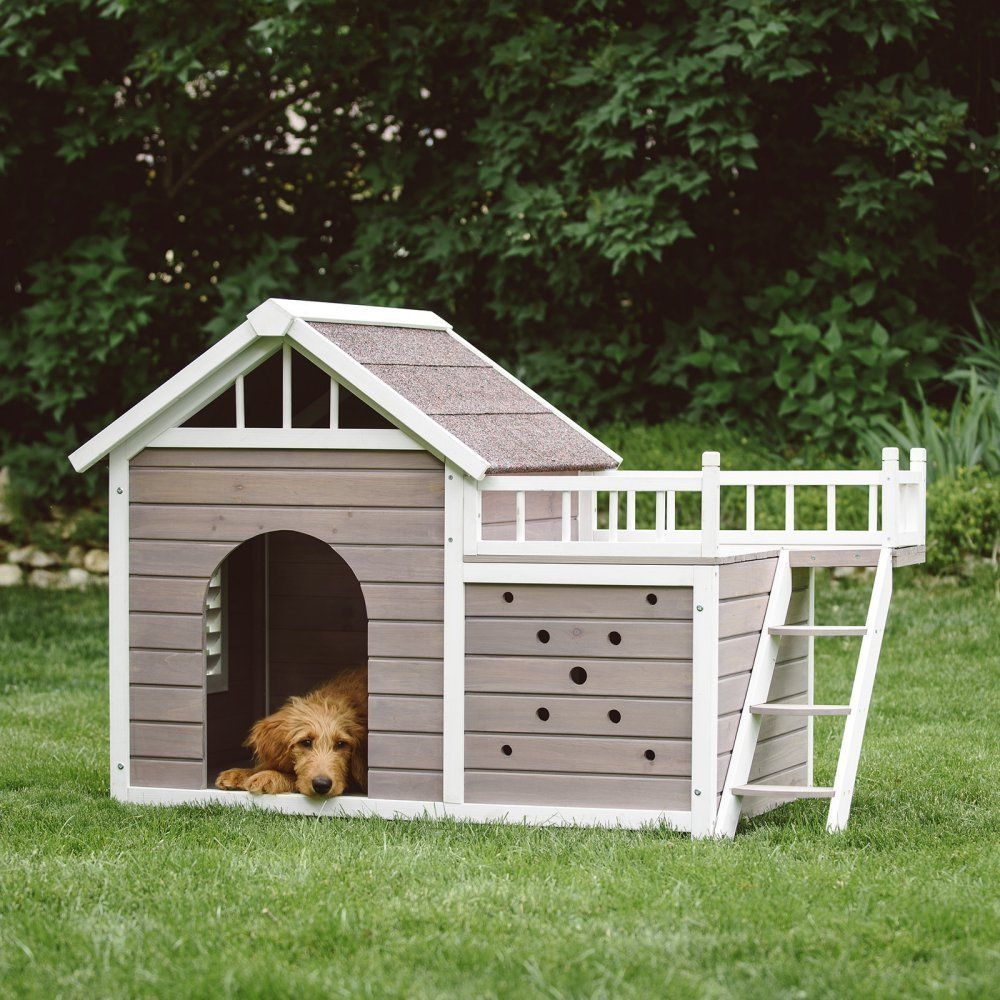Medium Large Dog House with Sunning Side Deck Outdoor Pet