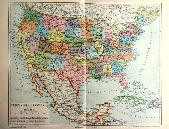 Antique Political Map Of The United States Of America And Mexico
