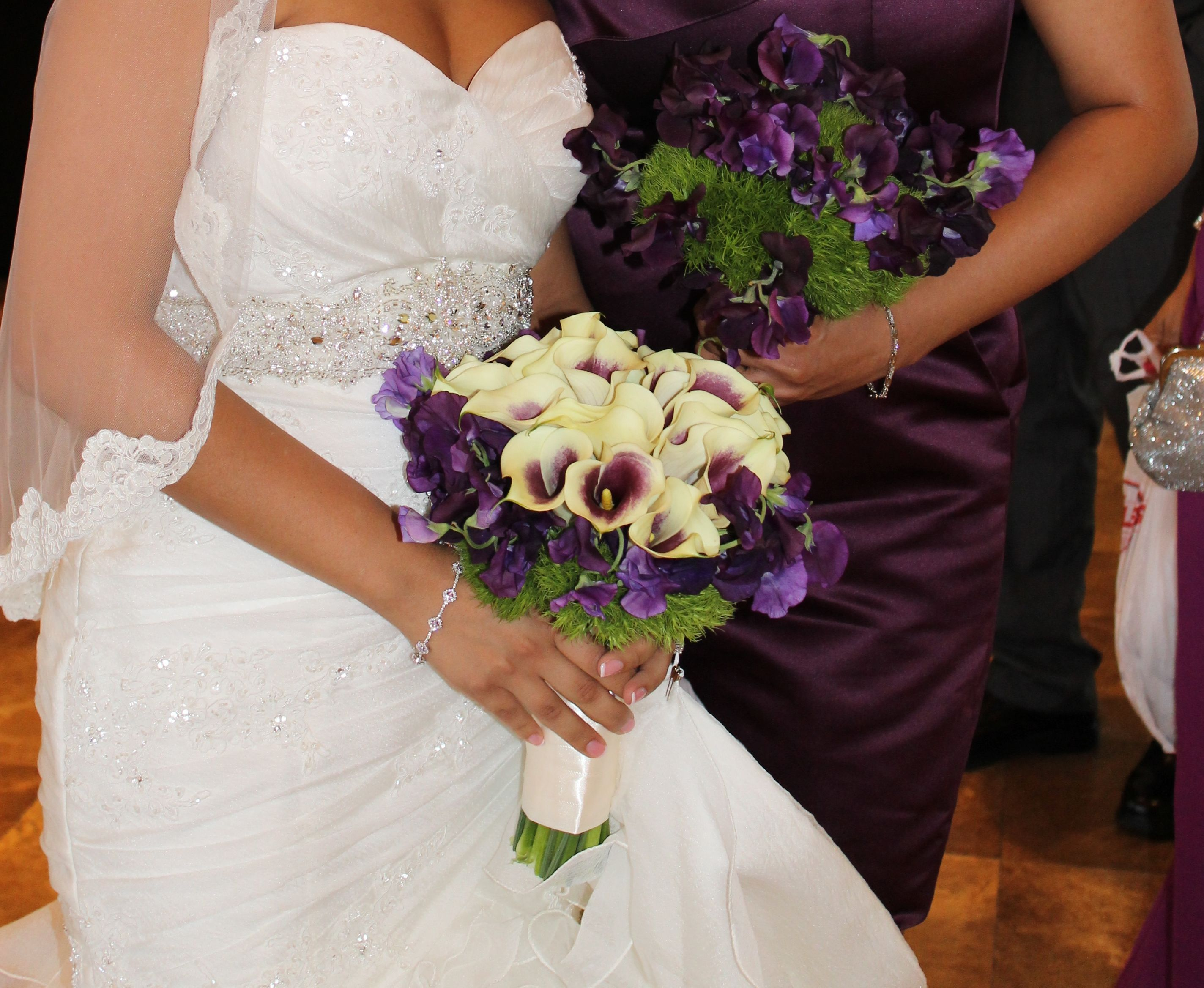 Picasso calla lily bridal bouquet with purple and lavender sweet picasso calla lily bridal bouquet with purple and lavender sweet pea and dianthus bridesmaid bouquet dhlflorist Choice Image
