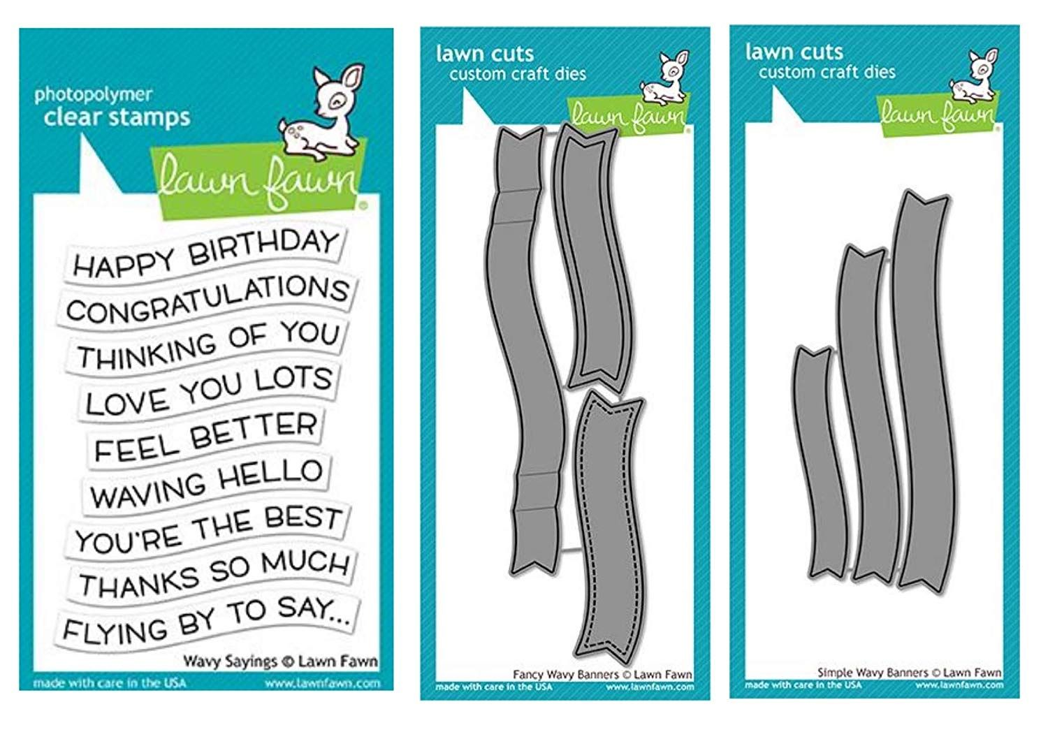 Lawn Fawn Wavy Sayings Clear Stamp Fancy Wavy Banner Dies Simple