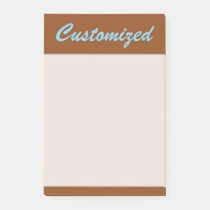 Plain, Minimal, Brown Background w/ Sky Blue Name Postit
