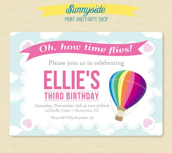 Hot air balloon birthday invitation balloon time flies birthday items similar to hot air balloon birthday invitation time flies printable birthday party invite for girl or boy any color on etsy filmwisefo Image collections
