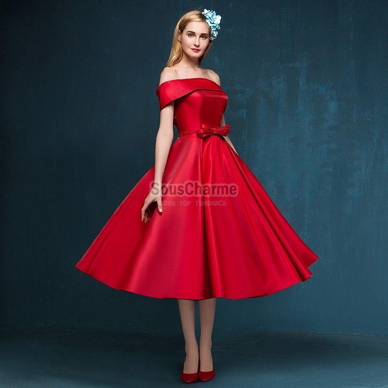 robe de cocktail pas cher l gante en satin rouge avec col plat paules d gag es jupe a ligne mi. Black Bedroom Furniture Sets. Home Design Ideas