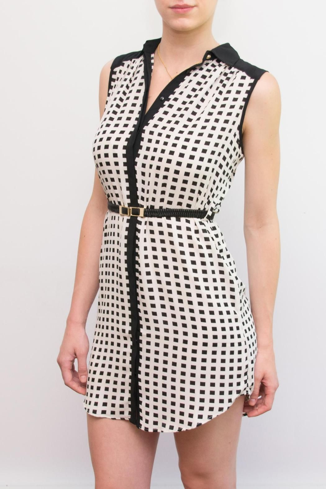 """Black and White Belted Shirt Dress. Classic styling and fit make this dress one of our """"must have"""" pieces."""