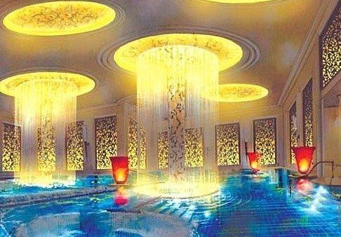 Luxury Indoor Pool With Ceiling Waterfalls Home Spa