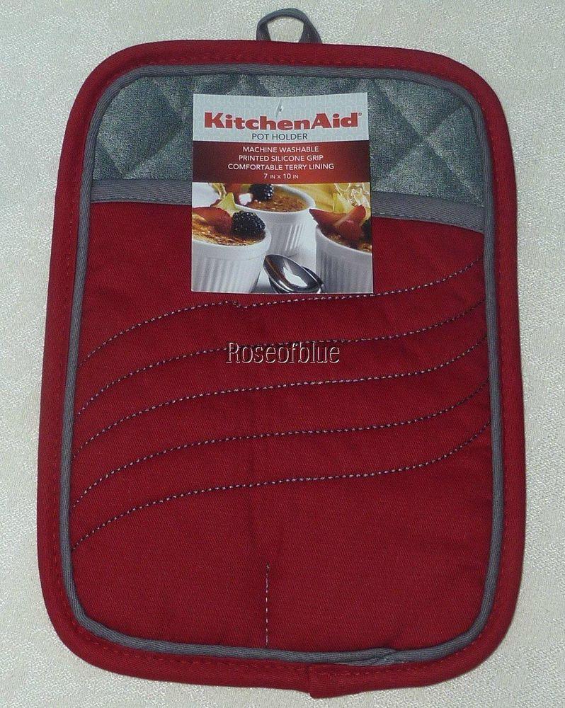 Kitchenaid pot holder red silicone gripper nubs safe heavy