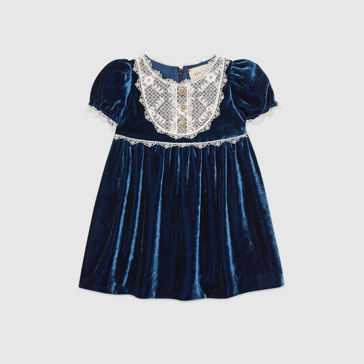 f81616604 Shop the Baby velvet dress by Gucci. A baby dress in fluid blue velvet is