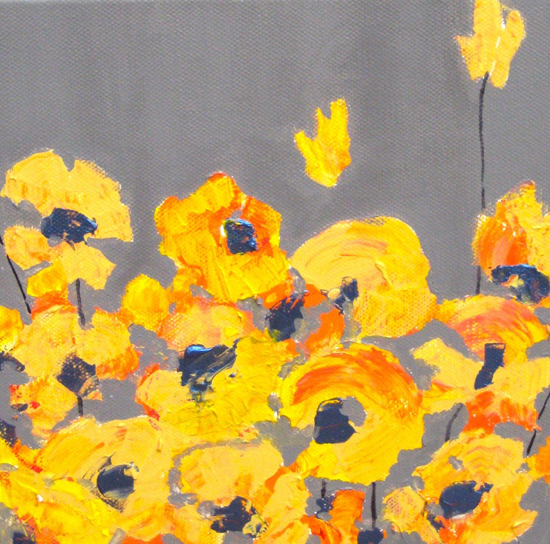 Original Yellow Poppy Painting California Poppy Poppy Flowers