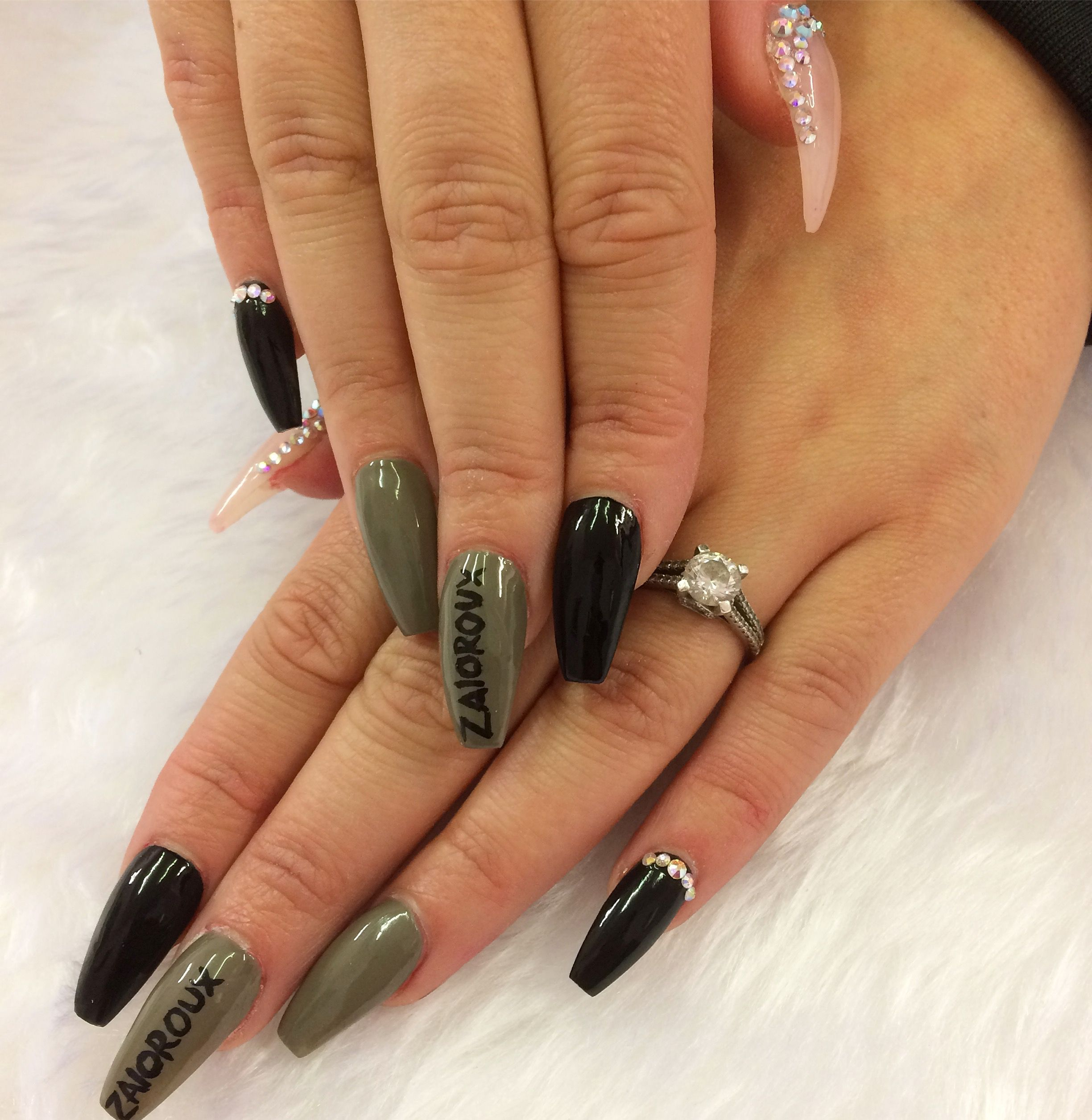 Khaki And Black Coffin Nails With Swarovskis And Hand Painted Lettering Nail Art Nails Us Nails Black Coffin Nails