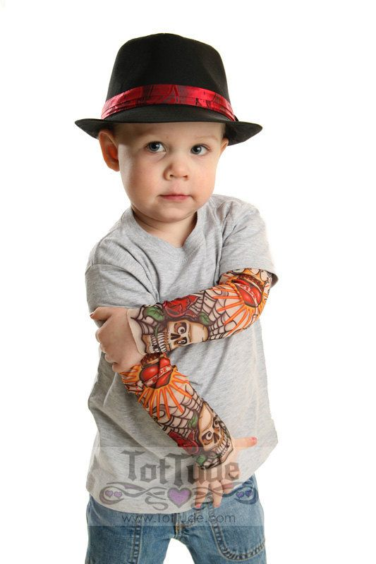 162270f7d I may never get a tattoo, but this is kinda cute. Tattoo Sleeve Gray T Shirt  for Babies and Toddlers