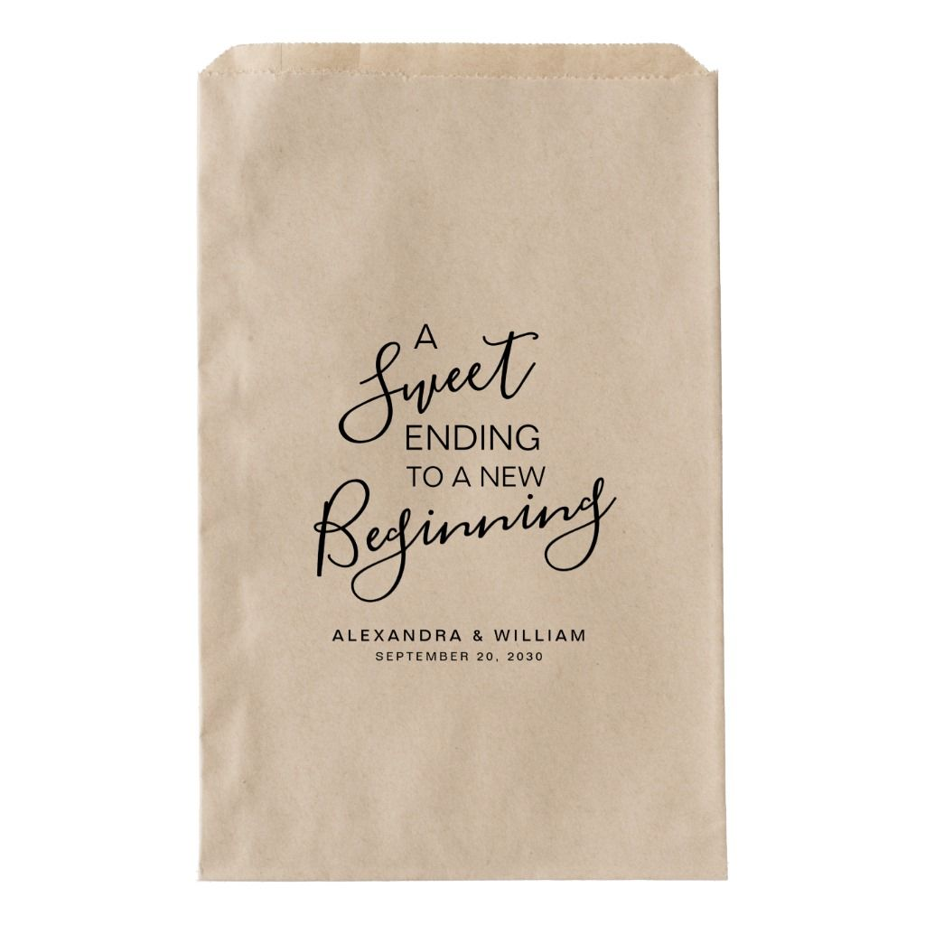 A Sweet Beginning Wedding Candy Bar Buffet FAVOR Favor Bag | Zazzle.com