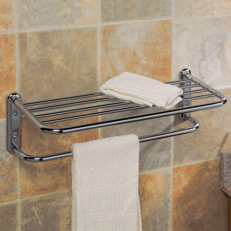 Towel Bar With Shelf Bathroom Towel Rack Gatco Wall Shelves