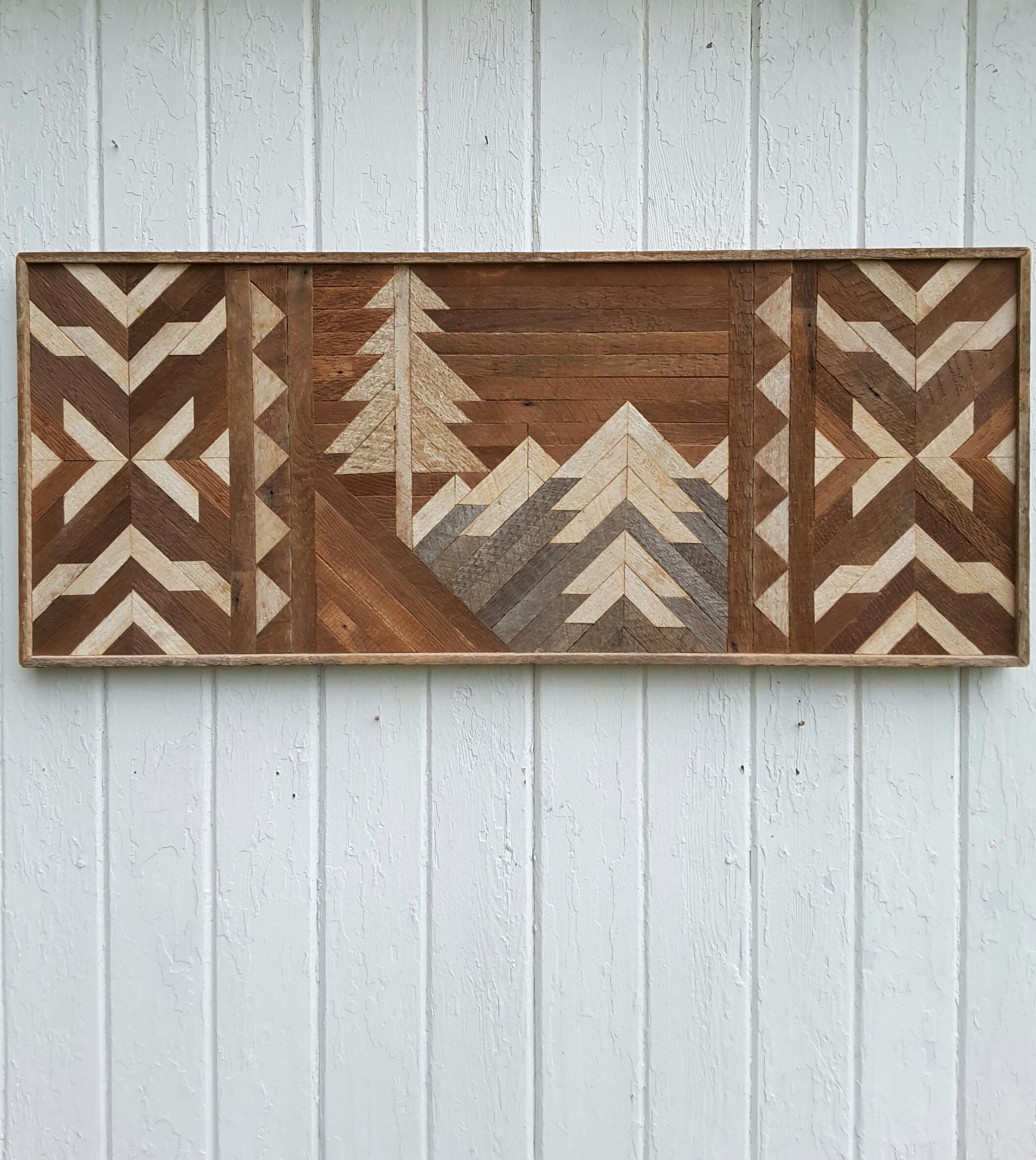 Handmade Unique One Of A Kind Wall Art Using Reclaimed Wood In Geometric Design Boarders And Mosai Wood Wall Art Reclaimed Wood Wall Art Wood Wall Art Decor