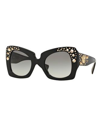 Square Studded-Temple Sunglasses, Black/Gold by Versace at Bergdorf Goodman.