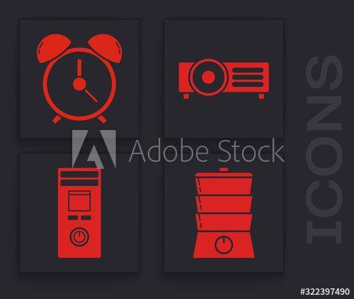 Set Double boiler , Alarm clock , Presentation, movie, film, media projector and Remote control icon. Vector , #SPONSORED, #clock, #Presentation, #movie, #Alarm, #Set #Ad