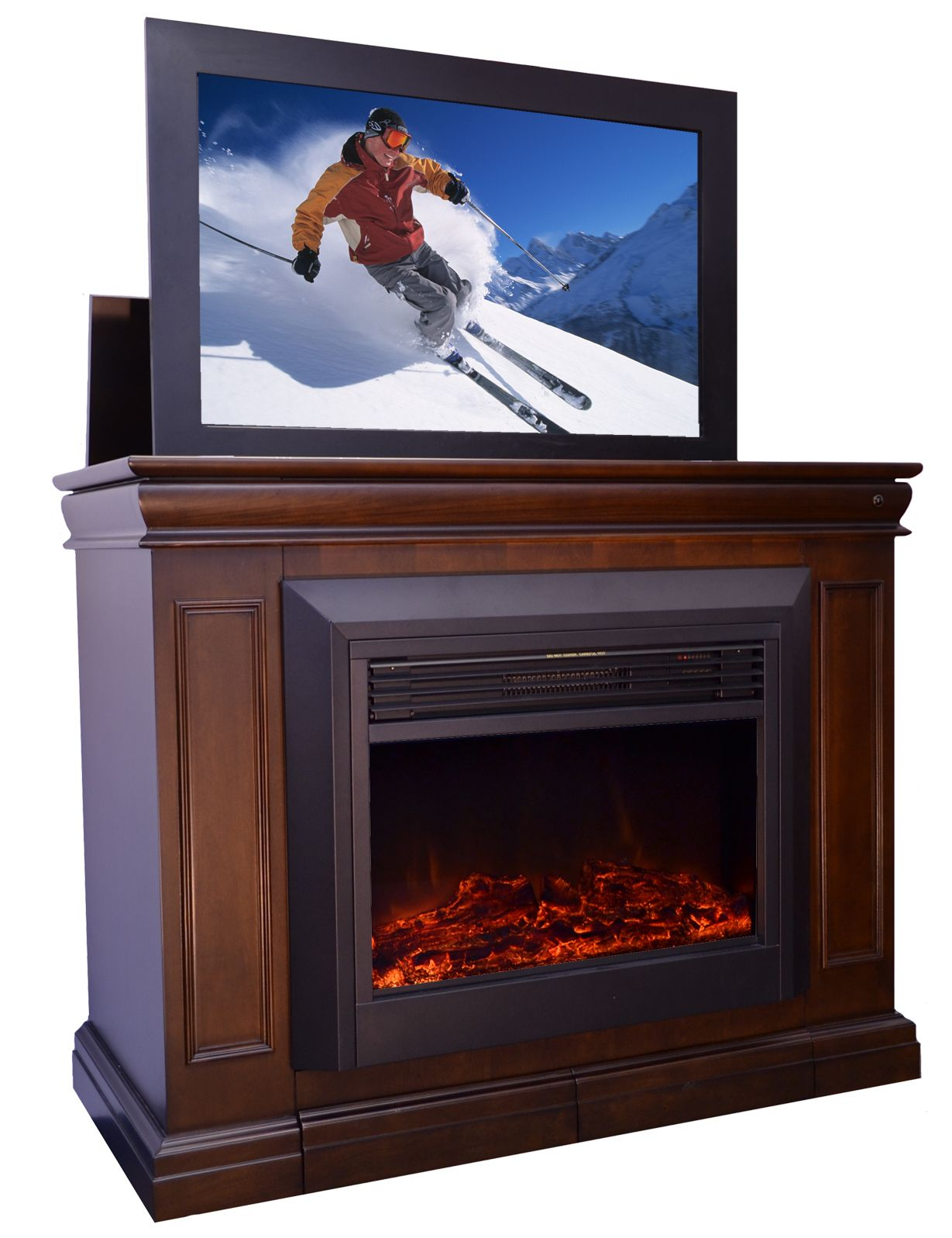 Conestoga tv lift with electric fireplace with
