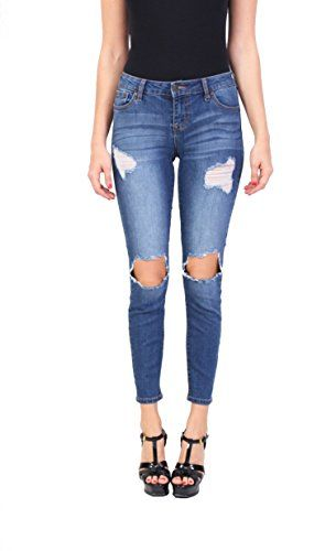 0a1efa15ddb Celebrity Pink Jeans Women Middle Rise Distressed Ankle Skinny Jeans with  Open Knee Medium Denim