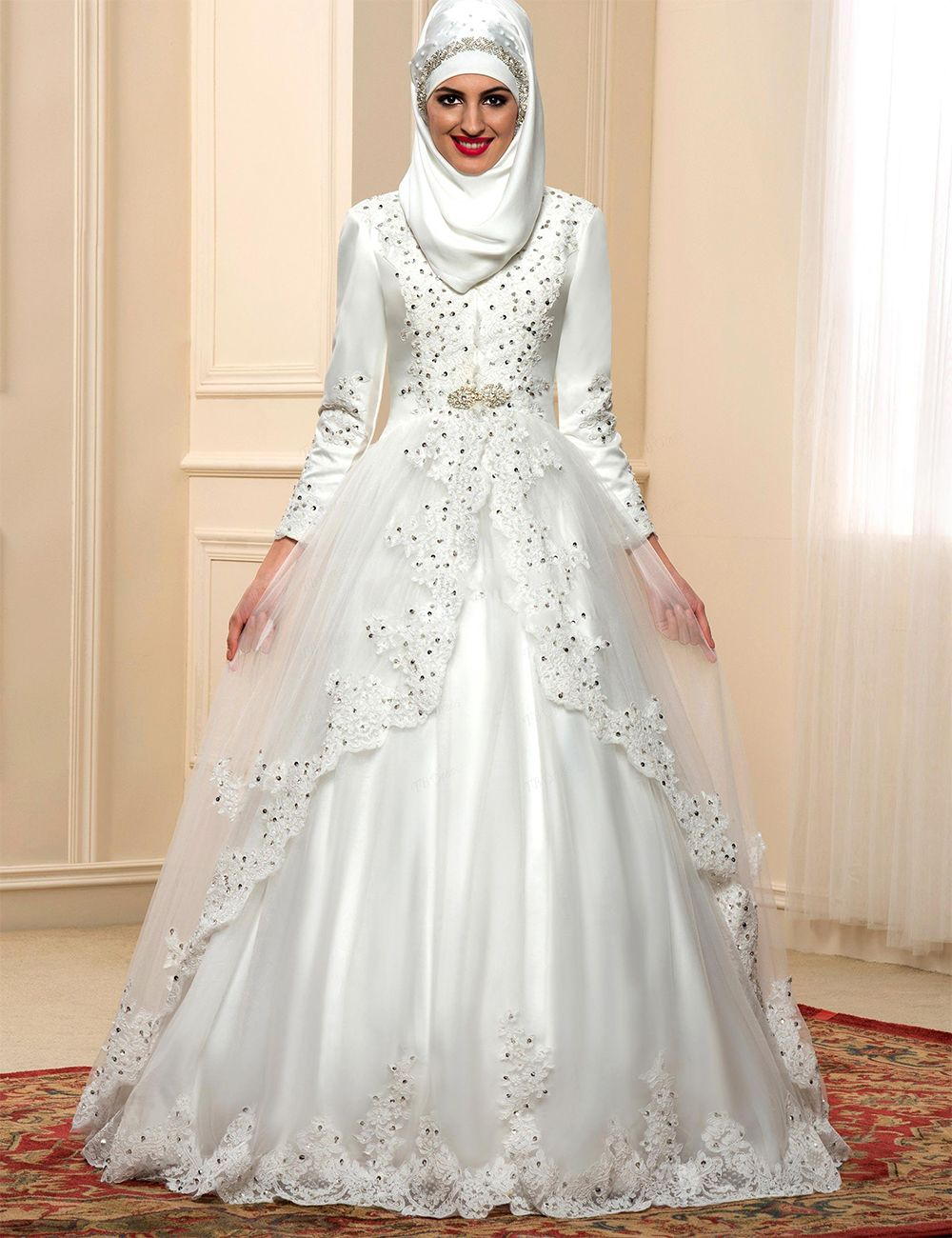 Find a Ivory Satin Lace Muslim Bridal Wedding Dress 2016 Tulle ...