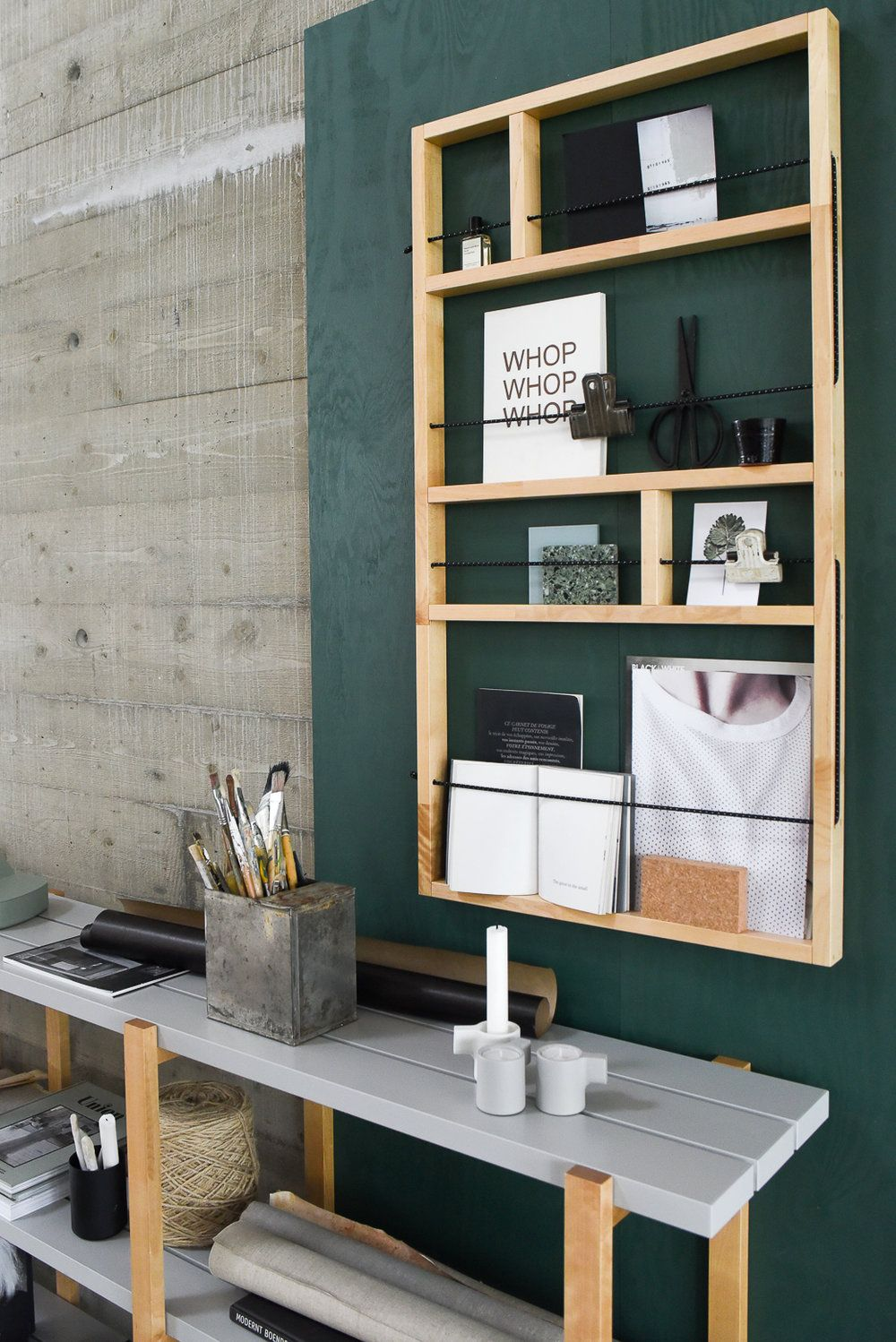would be so easy to build this shelf rack great option to add some depth to design in small spaces