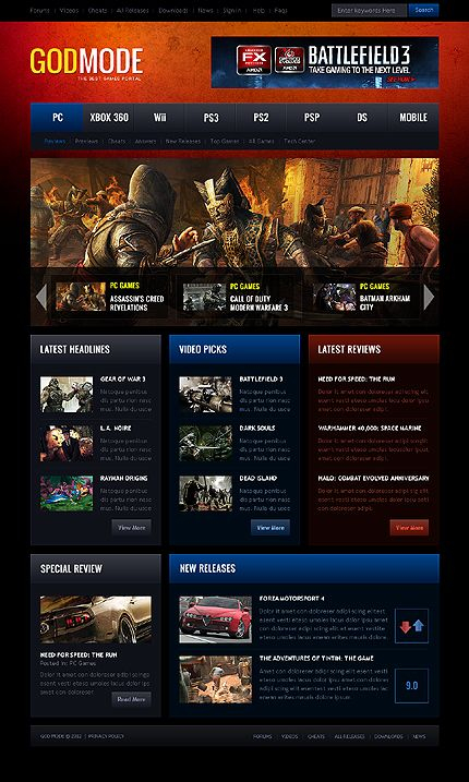 Game Portal WordPress Themes By Ares Gaming Website Pinterest - Gaming website template